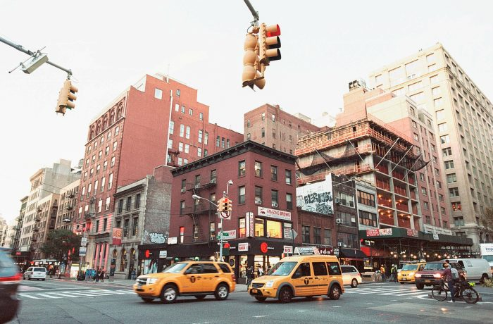 Manhattan Intersection With Yellow Cabs
