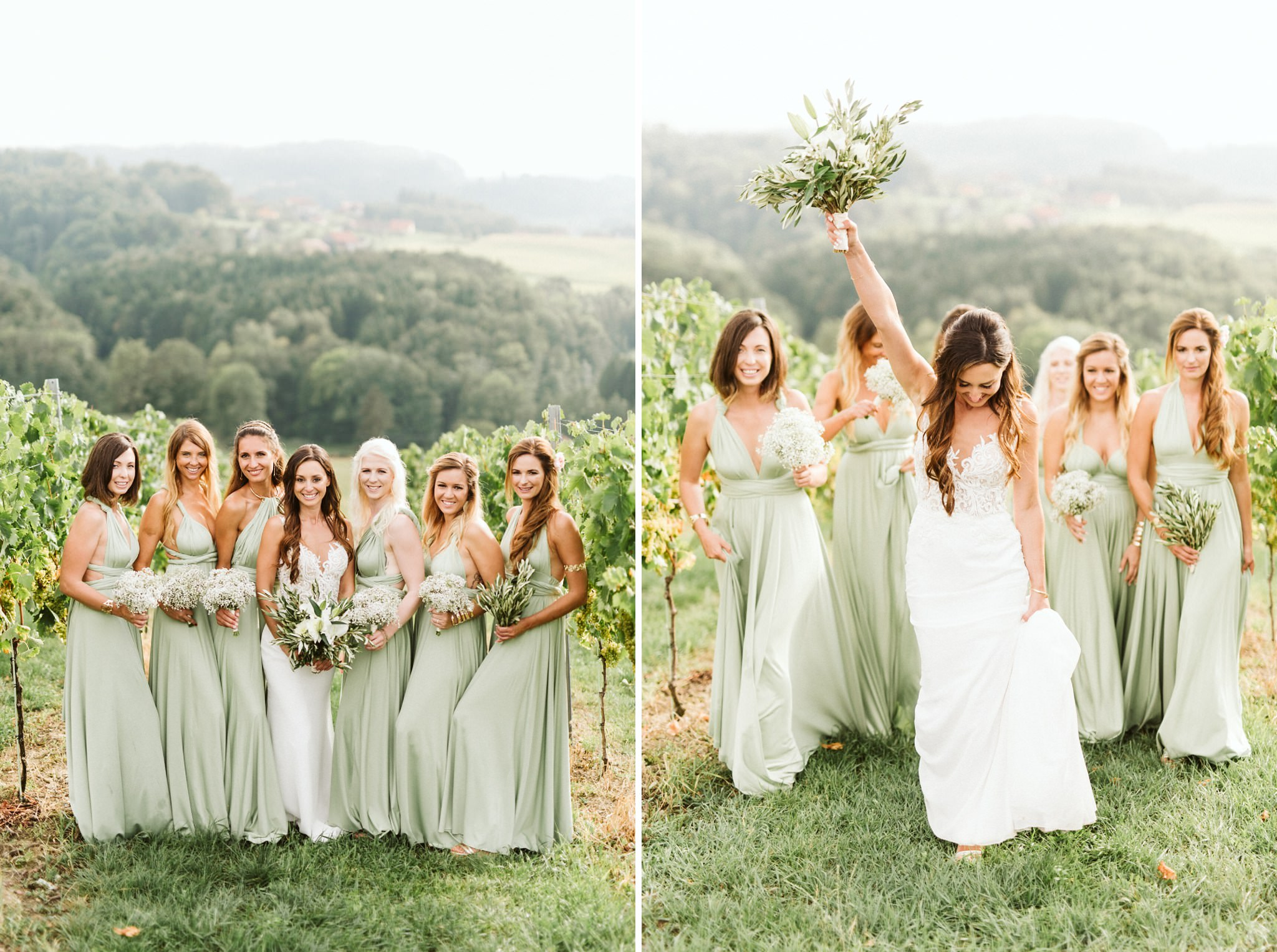 Pastel Green Bridesmaid Dresses