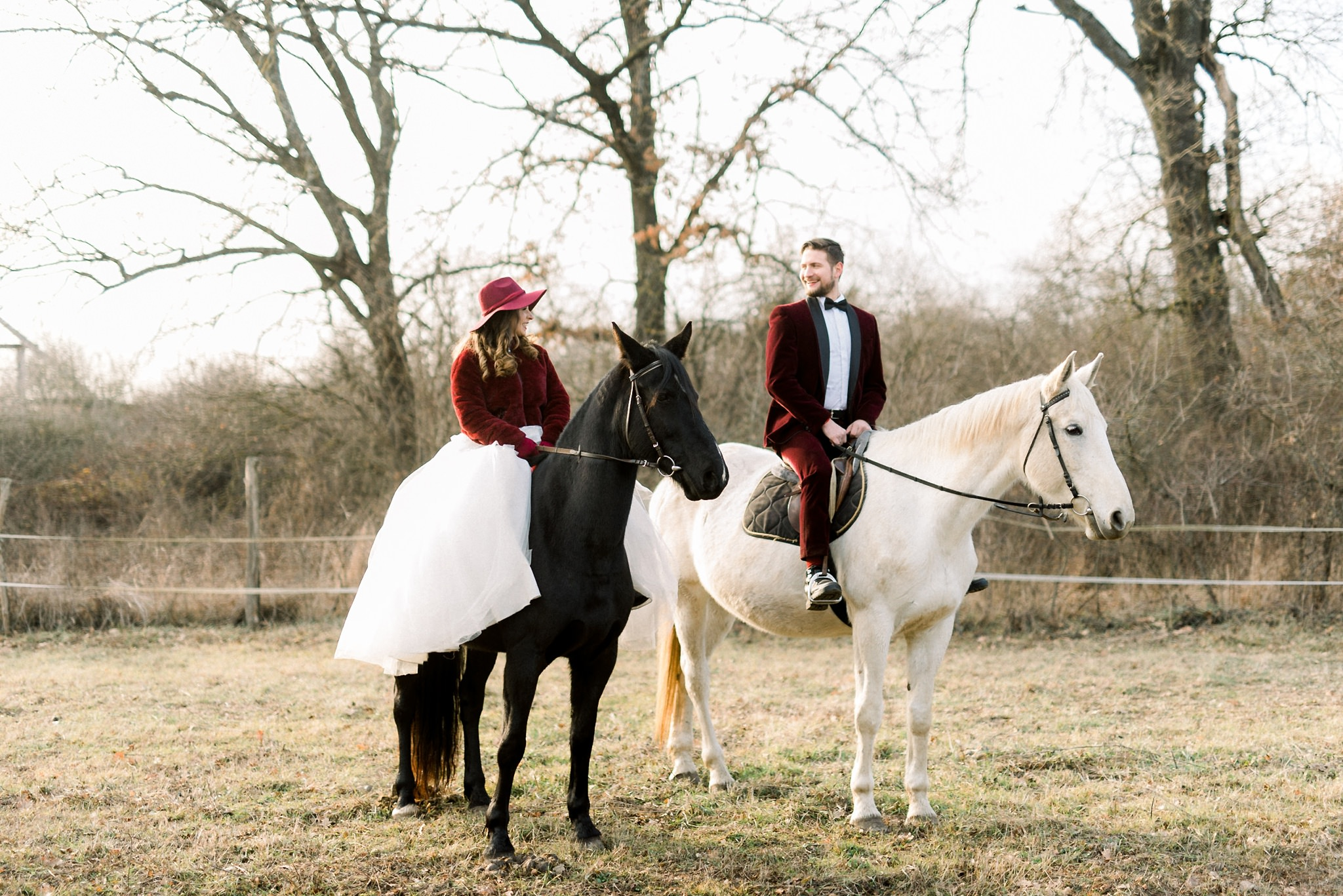 Sweet Winter Horseback Wedding Photoshoot 13