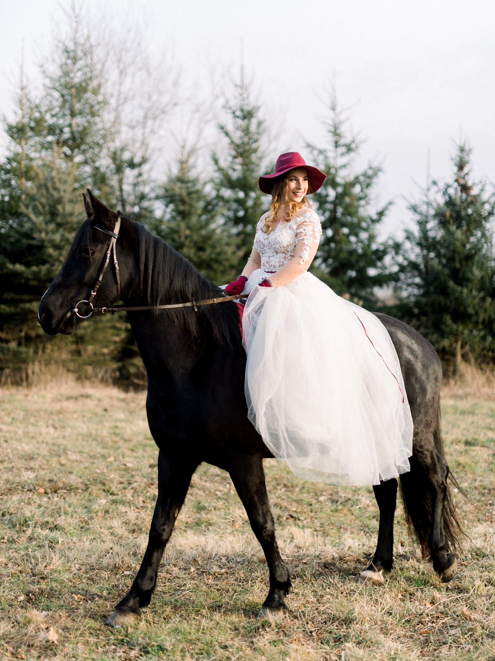 Sweet Winter Horseback Wedding Photoshoot 16 1
