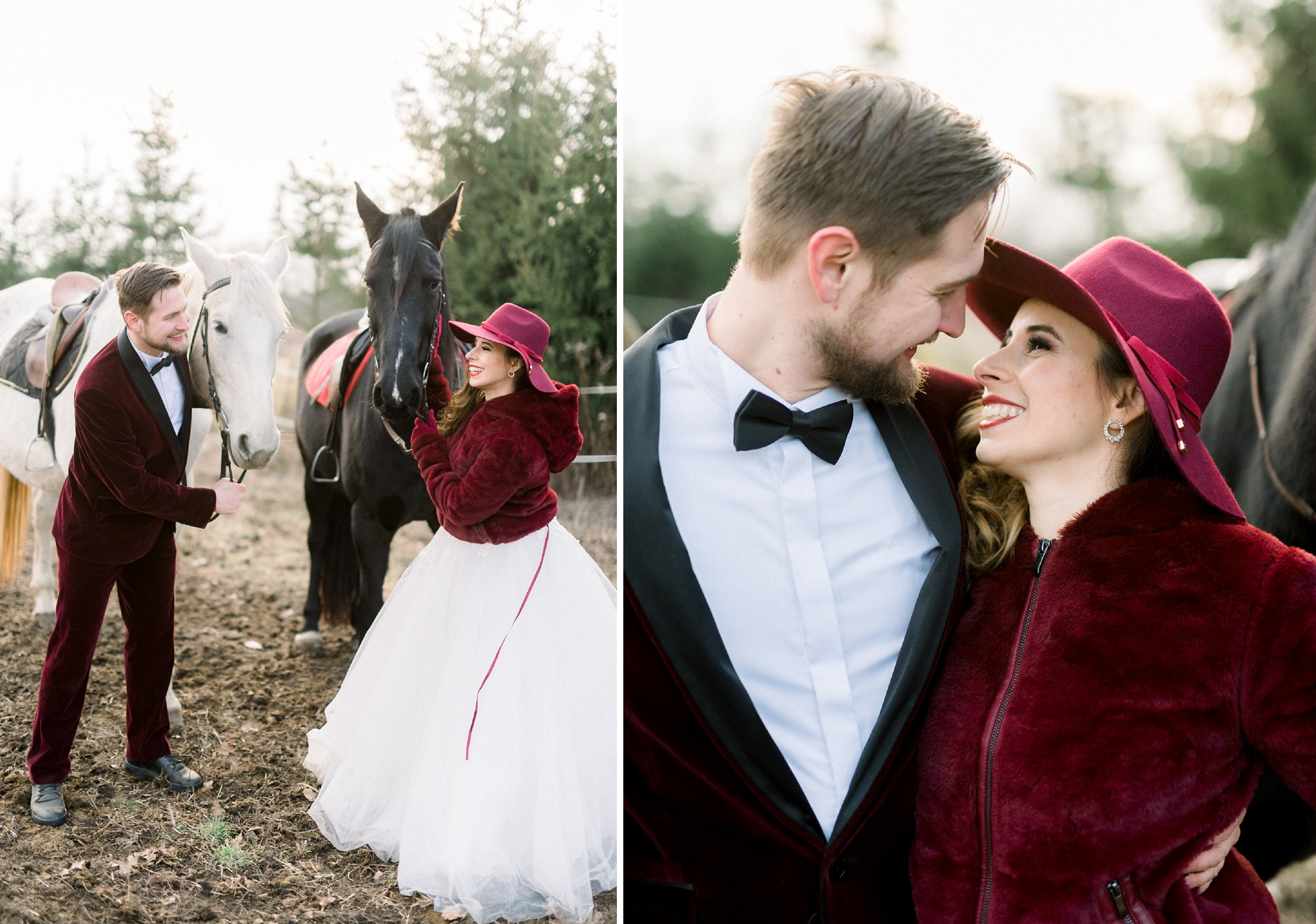 Sweet Winter Horseback Wedding Photoshoot 17