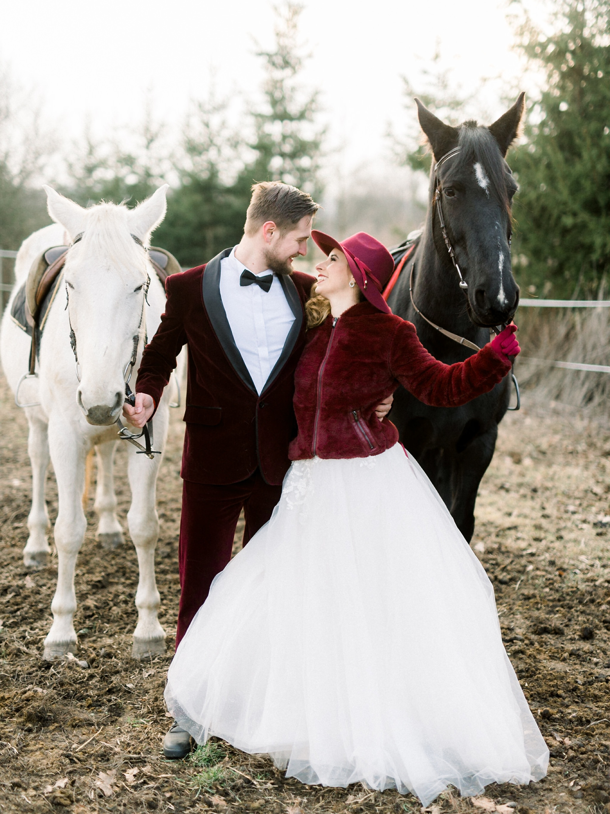 Sweet Winter Horseback Wedding Photoshoot 19