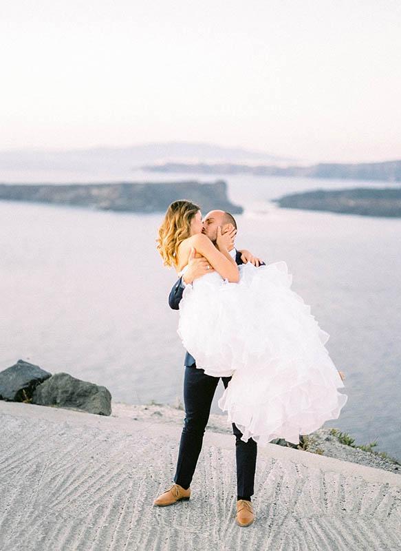 Santorini Bride and Groom Portrait